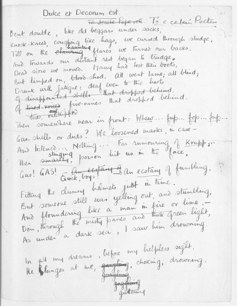 a close reading of dulce et decorum est the british library wilfred owen s manuscript draft of dulce et decorum est