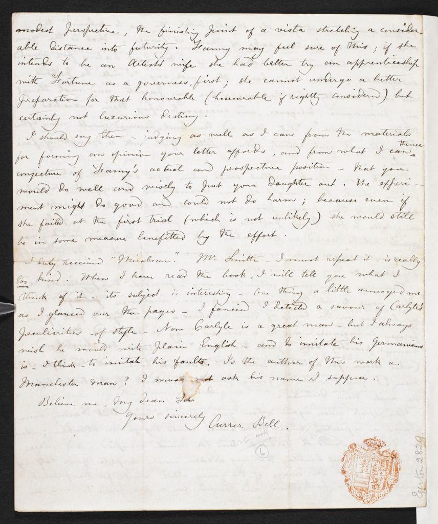 Charlotte Bronte Letter To W S Williams