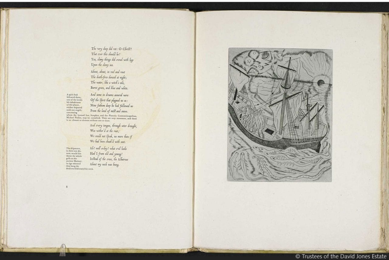 Samuel taylor coleridges the rime of the ancient marinerthe titlethe ancient mariner illustrations by david jones authorcreatordavid jones samuel taylor coleridge held bybritish library shelfmarkc100k20 biocorpaavc Images
