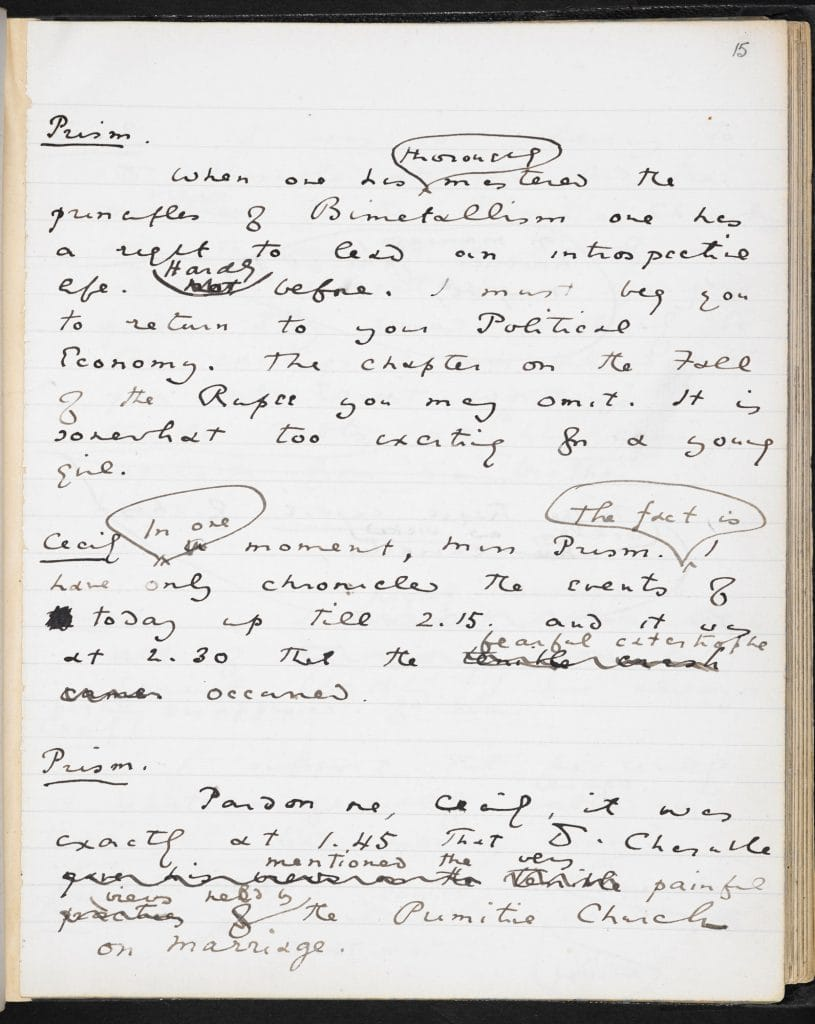 Oscar wildes the importance of being earnest the british library manuscript for the play which would become oscar wildes the importance of being earnest the drafts are mainly in pen and ink but there are many nvjuhfo Images